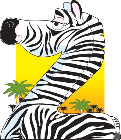 A portrait of a zebra with a dessert background. He is shaped like the letter Z