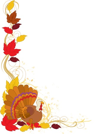 A border featuring autumn leaves and a turkey Vector