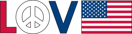 The word love with a peace symbol and an American Flag