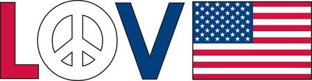 simbolo de la paz: El amor de palabra con un s�mbolo de paz y una bandera estadounidense