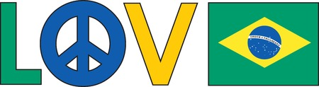 The word love with a peace symbol and a Brazilian Flag
