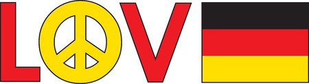 The word love with a peace symbol and a German Flag