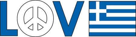 Das Wort Liebe mit einem Friedenssymbol und ein griechisch-Flag Standard-Bild - 7706627