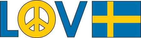 単語の愛平和のシンボルとスウェーデンの国旗  イラスト・ベクター素材