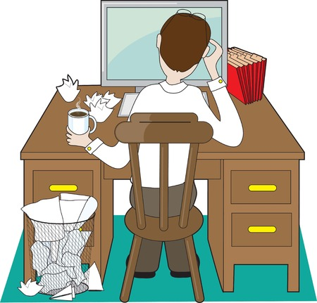 computer office: Back view of a man at a desk dealing with problems Illustration