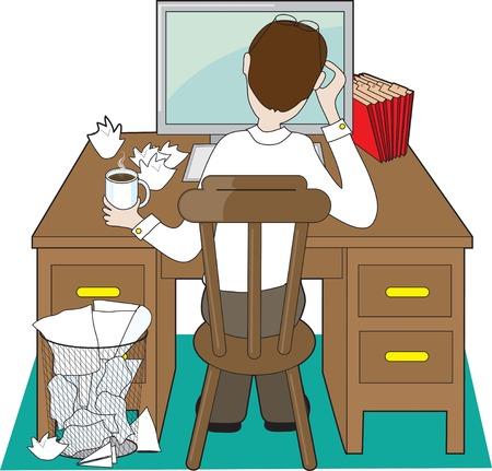 Terug oog van een man op een bureau omgaan met problemen Stock Illustratie
