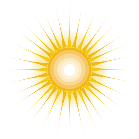 A stylized sun with long rays and concentric circles