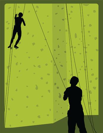ロック ・ クライマー、フレーム内の壁のスケーリングのペア  イラスト・ベクター素材
