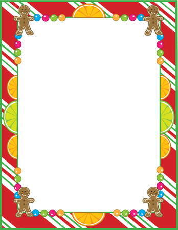 gingerbread: A border or frame featurng Christmas candies like peppermint,fruit slices and gingerbread cookies