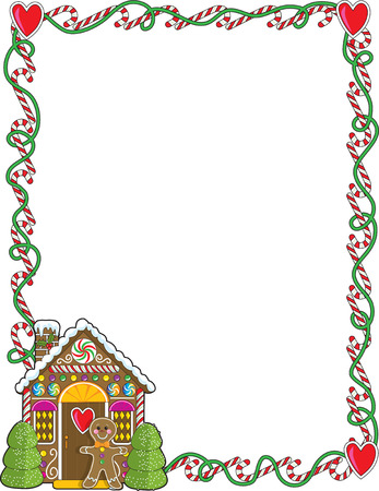 gingerbread: A border or frame featuring Christmas candy canes and a gingerbread house