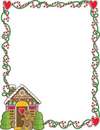 casita de dulces: Un borde o marco con Navidad candy ca�as y una casa de pan de jengibre