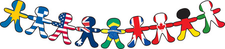 A line of paper dolls representing different countries