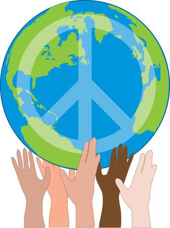 Een wereld bol met een vredes teken op het door vele handen gehouden Stock Illustratie