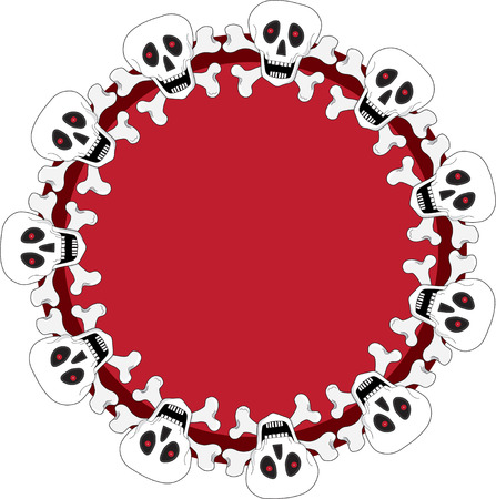 A circular pattern of white smiling skulls Vector