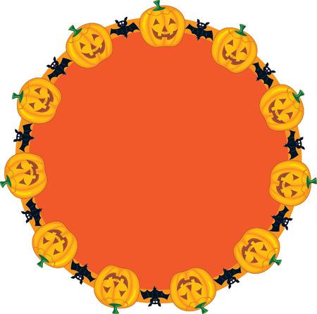 jack o: Jack O Lanterns in a circular border pattern
