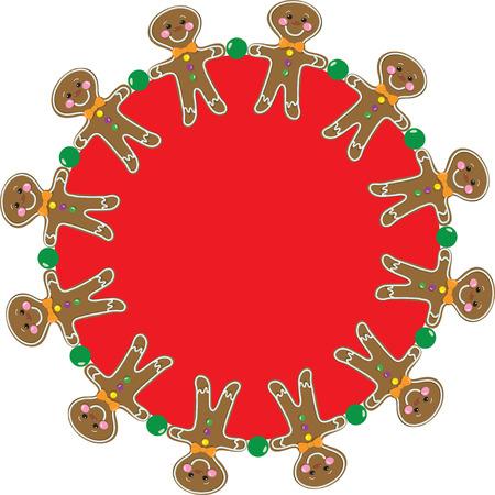 Gingerbread Man in a circular border pattern Stock Vector - 10815545