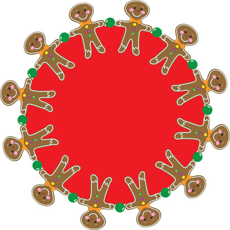 Gingerbread Man in a circular border pattern Stock Vector - 10815545