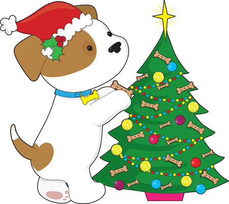 Cute puppy trimming a Christmas Tree