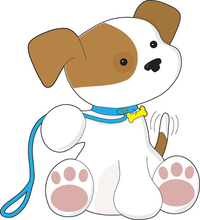 Cute puppy with leash waiting to go for a walk. Ilustração
