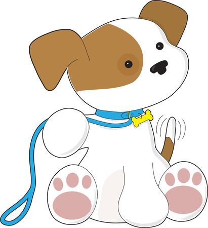 Schattige puppy met de riem te wachten om te gaan voor een wandeling. Stock Illustratie