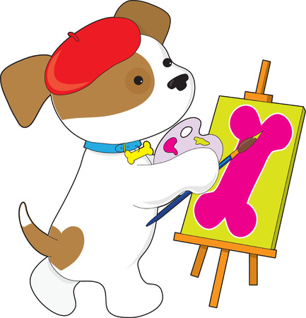 A cute puppy is painting a picture of a dog bone at an easel