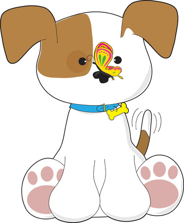 dog ears: A cute puppy with a butterfly on its nose Illustration