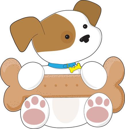 lap dog: Un cucciolo carino ha un biscotto di cane enorme sul suo giro  Vettoriali