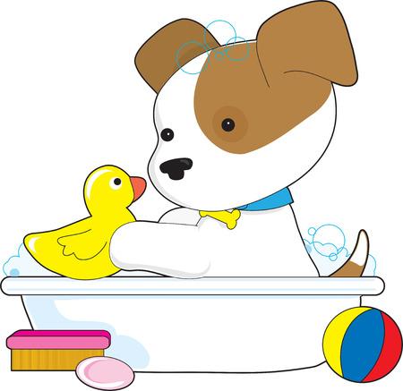 Een schattige puppy heeft een bad met een rubber duckie