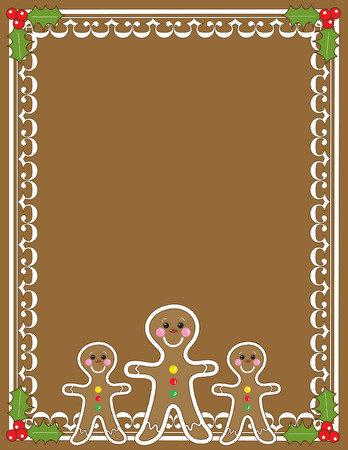 A border or frame featuring three gingerbread men and holly in the corners with a solid brown background Vector