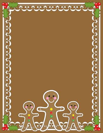 Een grens of frame met drie peper koek mannen en Hulst in de hoeken met een effen bruine achtergrond