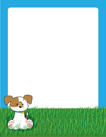 A border or frame featuring a little puppy sitting in the grass with a butterfly on his nose