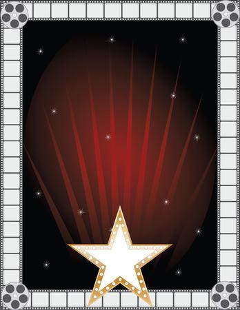 celebrities: Een grens of frame met een gouden ster, film stroken en film rollen Stock Illustratie
