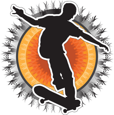 A silhouette of a skateboarder on a tribal circular background 일러스트