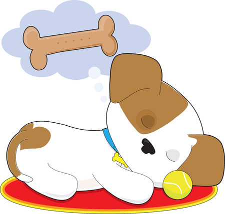 A cute puppy is sleeping and dreaming of a big dog biscuit
