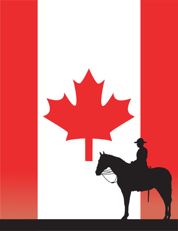 The silhouette of a Canadian Mounted Police officer against a Canadian flag Vettoriali