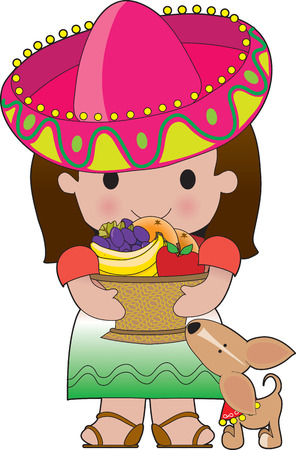 A little Mexican girl holds a basket of fruit. Her little dog is at her feet