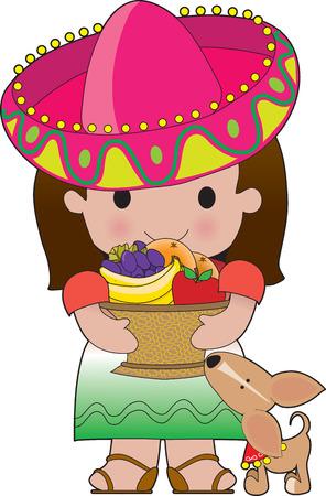 trajes mexicanos: Una ni�a mexicana tiene un cesto de frutas. Su perrito es a sus pies Vectores
