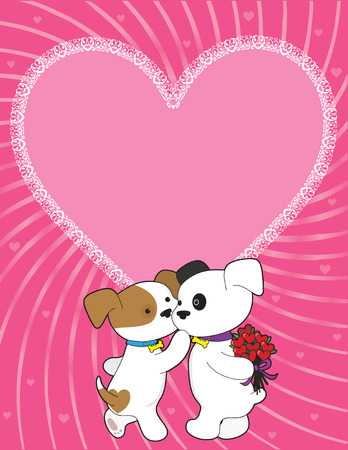 puppy love: A male puppy is giving his sweetheart a bunch of roses shaped like hearts Illustration