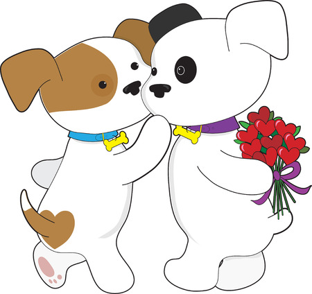 иллюстрация: A male puppy is giving his sweetheart a bunch of roses shaped like hearts Иллюстрация