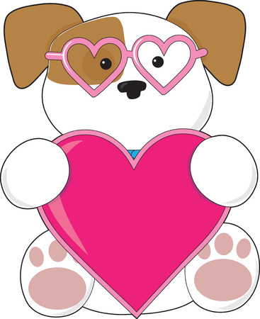 heart shaped: A cute puppy holding a big pink heart and wearing heart shaped sunglasses Illustration