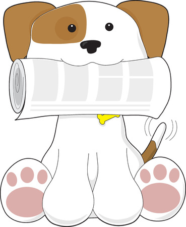 A cute puppy is holding a newspaper in its mouth Stock Vector - 8639961