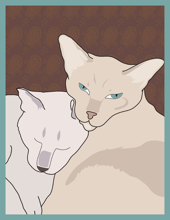 cuddling: A pairof Siamese cats are cuddling together