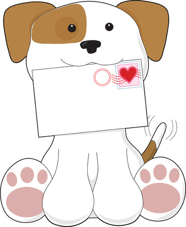A cute puppy is holding a letter that has a heart stamp in the top right corner