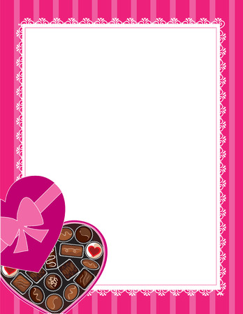 candy border: A box of chocolates at the lower left corner of a border or frame Illustration