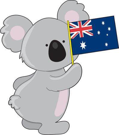 A cute little koala is holding up an Australian flag Vector
