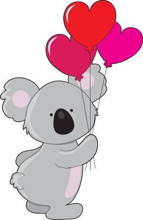 A cute koala is holding three balloons shaped like hearts