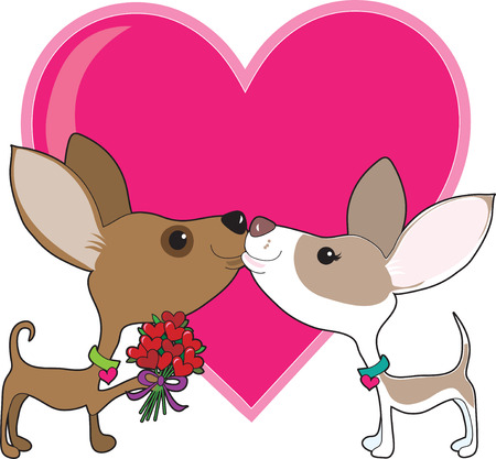 A chihuahua is giving a bouquet of heart flowers to his sweetheart Stock Vector - 8739841