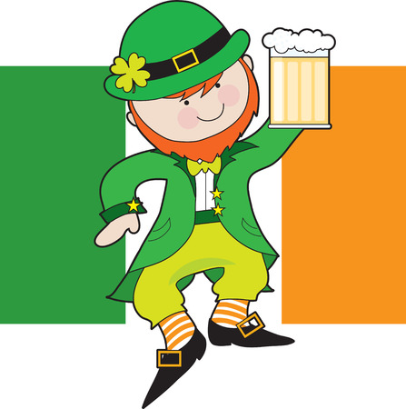 A leprechaun is dancing with a mug of beer in his hand. Behind him is the Irish Flag Stock Illustratie