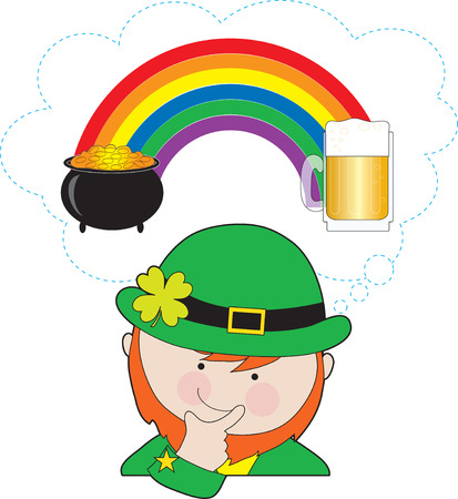 A leprechaun is pondering what is at the ends of the rainbow - a pot of gold or a mug of beer?