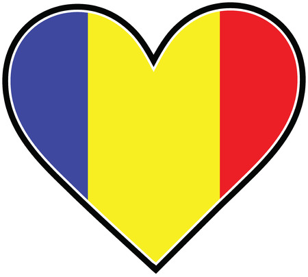 A heart with the Romanian flag in it Ilustracja